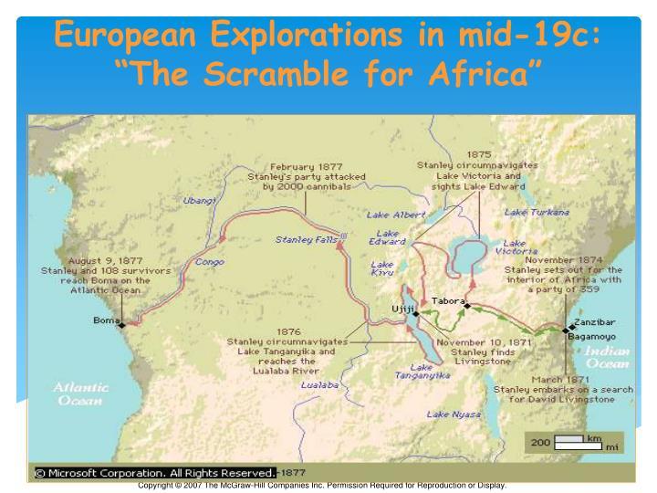 European Explorations in mid-19c: