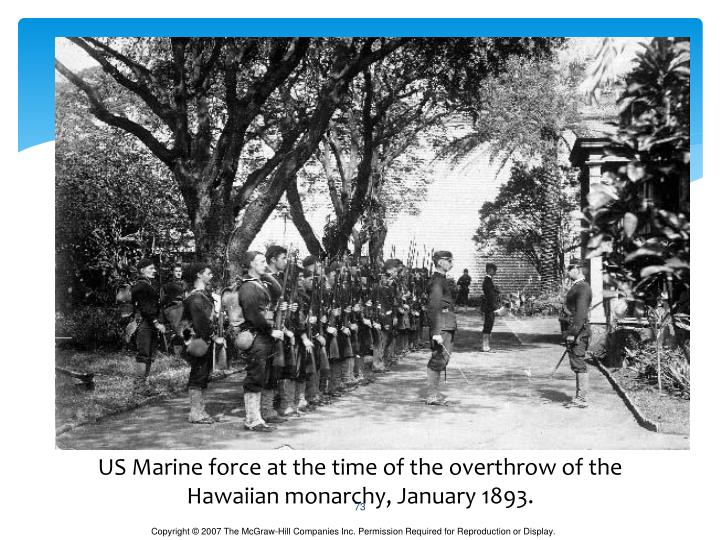 US Marine force at the time of the overthrow of the Hawaiian monarchy, January 1893.