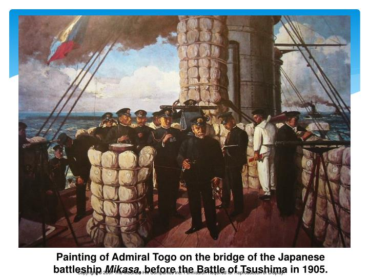 Painting of Admiral Togo on the bridge of the Japanese battleship
