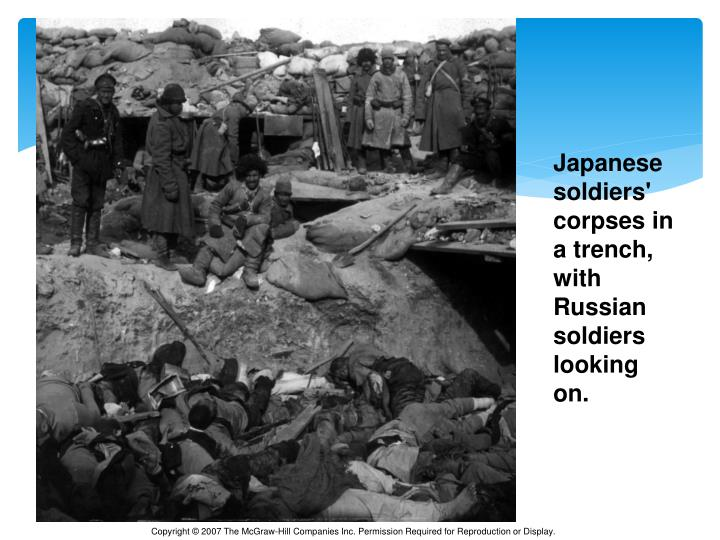 Japanese soldiers' corpses in a trench, with Russian soldiers looking on.