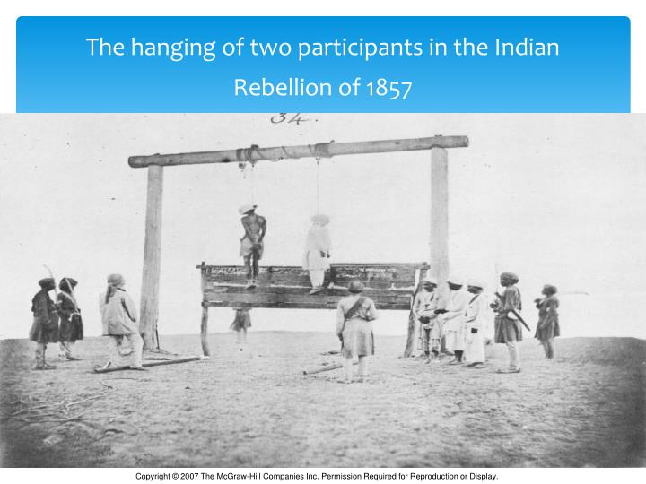 The hanging of two participants in the Indian Rebellion of 1857