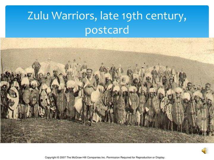 Zulu Warriors, late 19th century, postcard