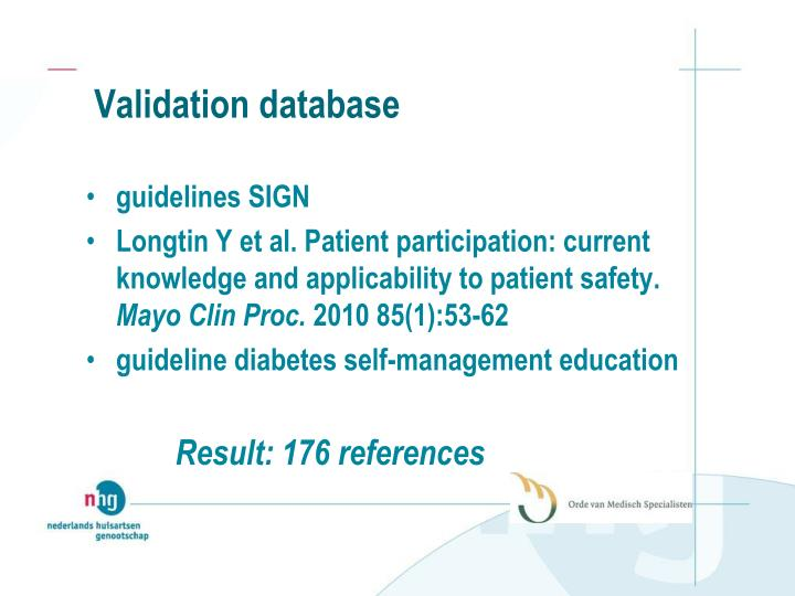 Validation database