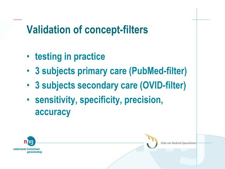 Validation of concept-filters