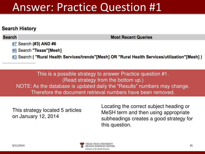 Answer: Practice Question #1