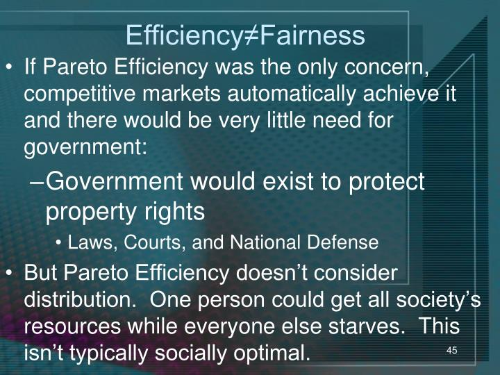 Efficiency≠Fairness