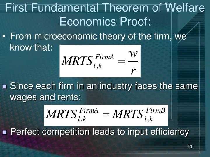First Fundamental Theorem of Welfare Economics Proof:
