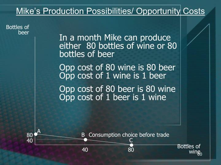 Mike's Production Possibilities/ Opportunity Costs