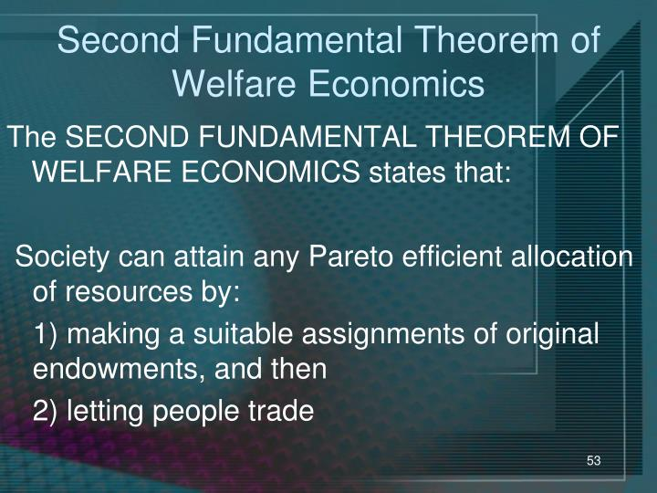 Second Fundamental Theorem of Welfare Economics