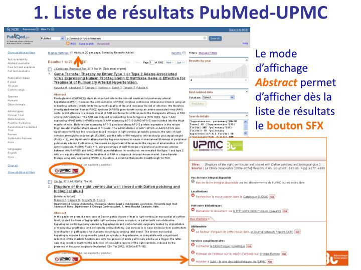1. Liste de résultats PubMed-UPMC