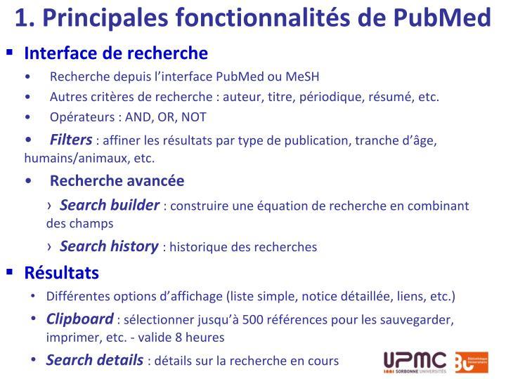 1. Principales fonctionnalités de PubMed