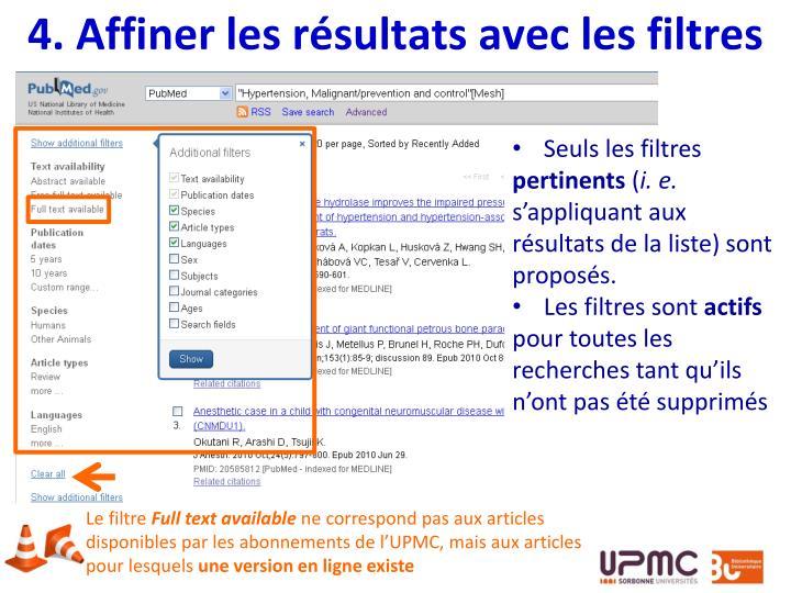 4. Affiner les résultats avec les filtres