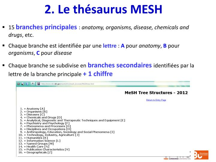 2. Le thésaurus MESH