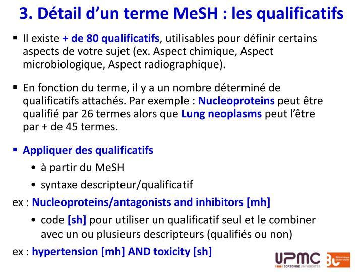 3. Détail d'un terme MeSH : les qualificatifs