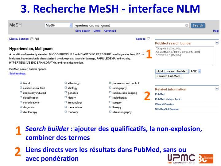 3. Recherche MeSH - interface NLM