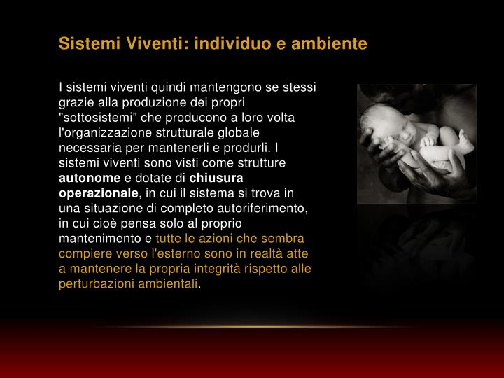 Sistemi Viventi: individuo e ambiente