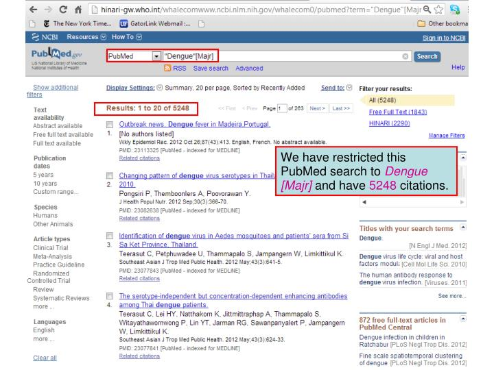 We have restricted this PubMed search to