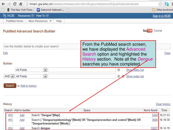 From the PubMed search screen,  we have displayed the