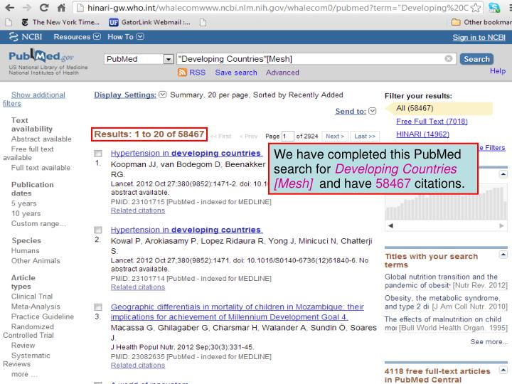 We have completed this PubMed search for