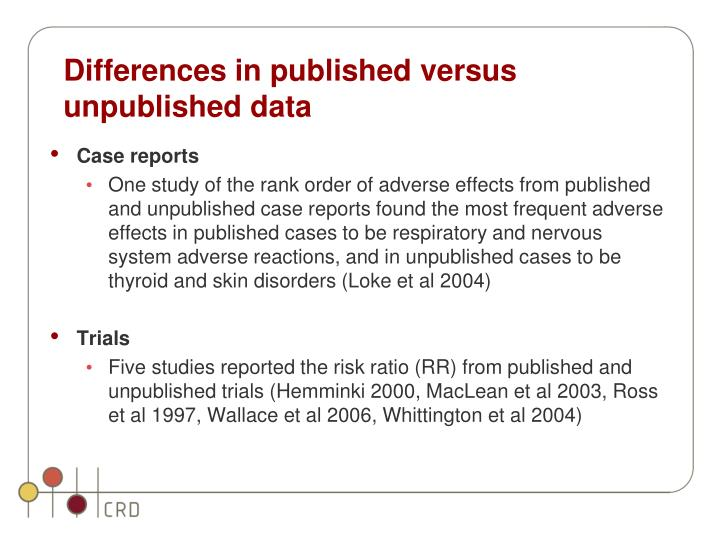 Differences in published versus unpublished data