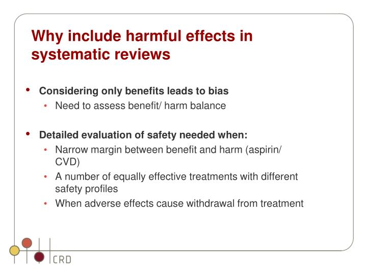 Why include harmful effects in systematic reviews