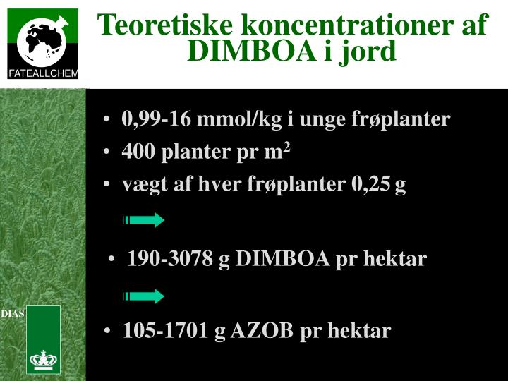 Teoretiske koncentrationer af DIMBOA i jord