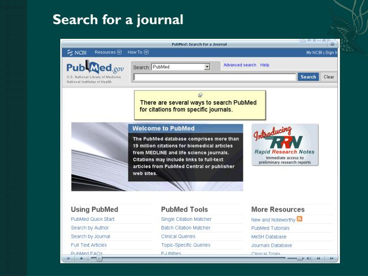 Search for a journal