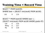 training time record time