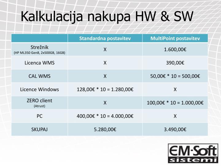 Kalkulacija nakupa HW & SW