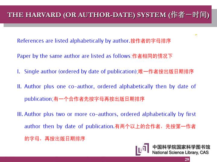 THE HARVARD (OR AUTHOR-DATE) SYSTEM (