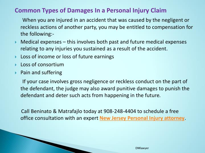 Common Types of Damages In a Personal Injury