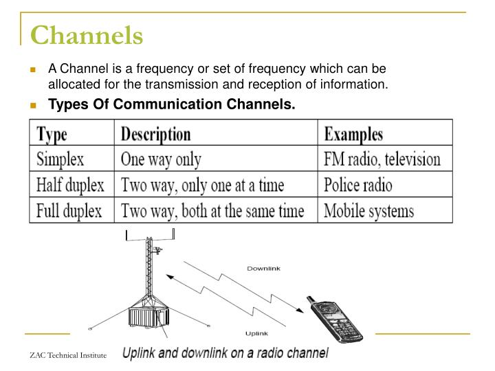 A Channel is a frequency or set of frequency which can be allocated for the transmission and reception of information.