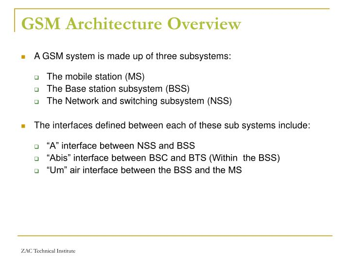 GSM Architecture Overview