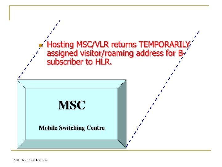 Hosting MSC/VLR returns TEMPORARILY assigned visitor/roaming address for B-subscriber to HLR.