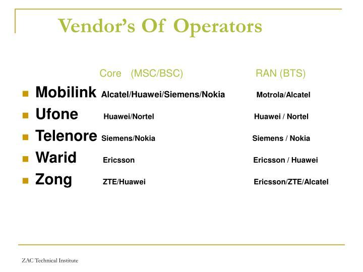 Vendor's Of Operators