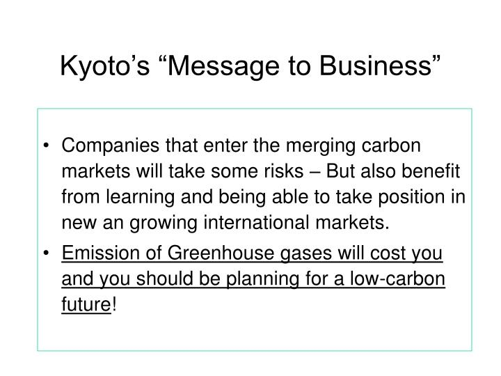 """Kyoto's """"Message to Business"""""""