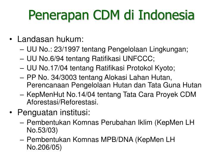 Penerapan CDM di Indonesia