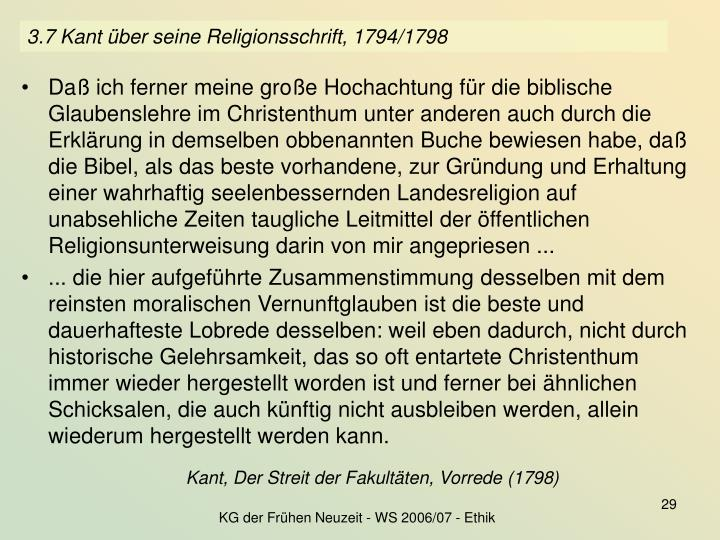 3.7 Kant über seine Religionsschrift, 1794/1798