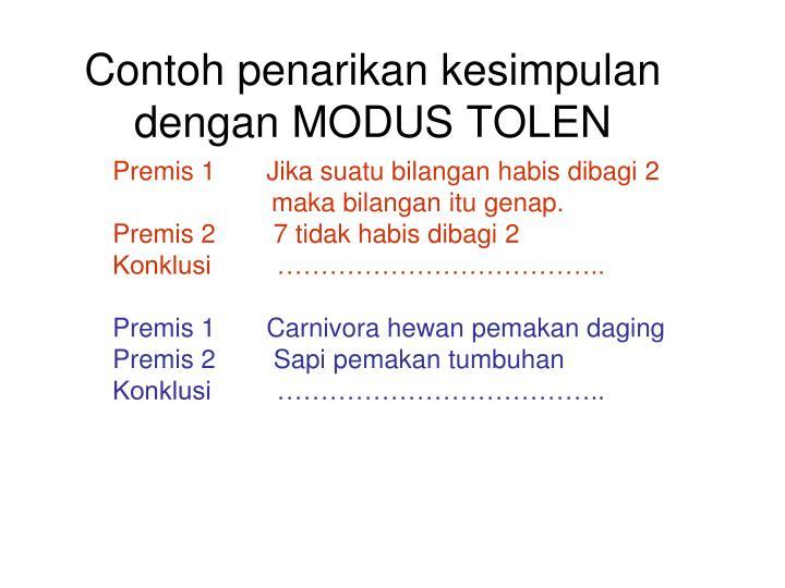 Contoh penarikan kesimpulan dengan MODUS TOLEN