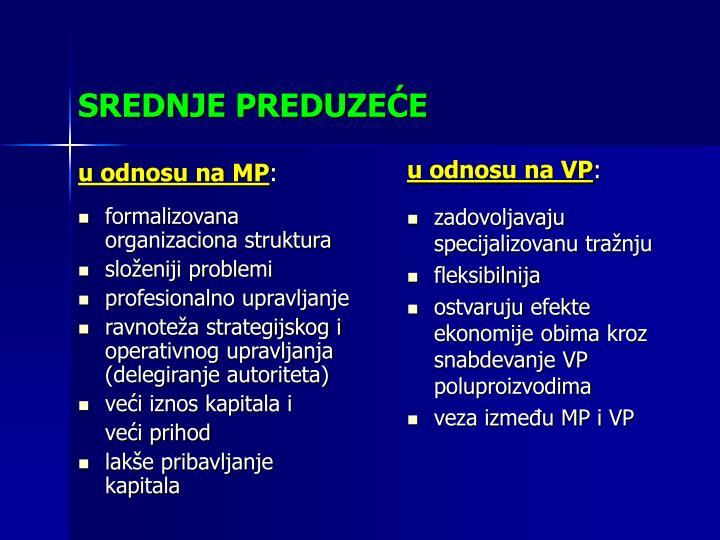 u odnosu na MP