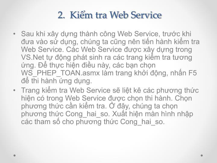 2.  Kiểm tra Web Service