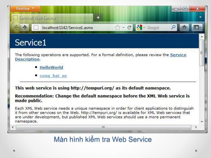 Màn hình kiểm tra Web Service