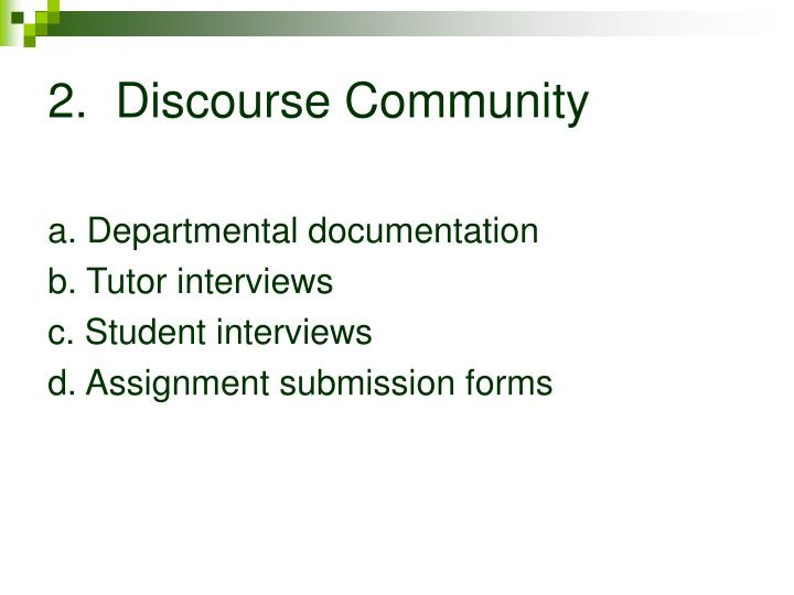 2.  Discourse Community