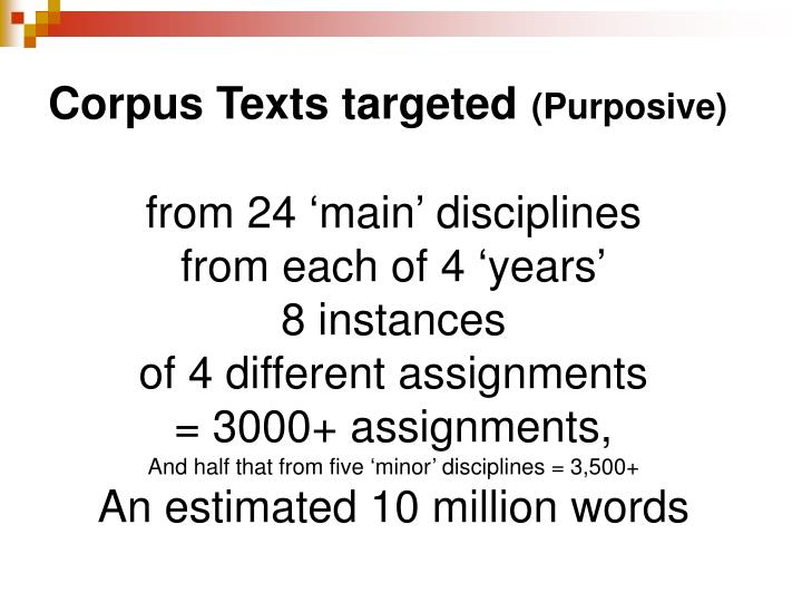 Corpus Texts targeted