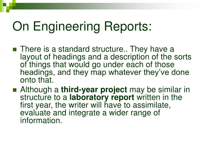 On Engineering Reports: