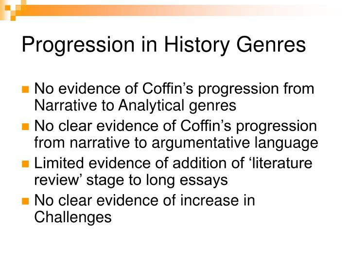 Progression in History Genres
