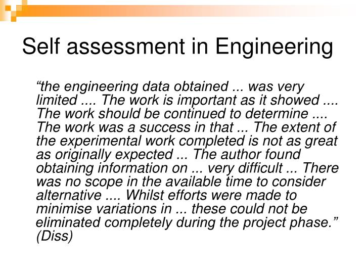 Self assessment in Engineering