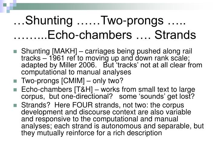 …Shunting ……Two-prongs ….. ……...Echo-chambers …. Strands