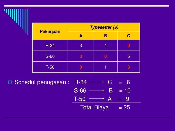Schedul penugasan :   R-34             C    =   6