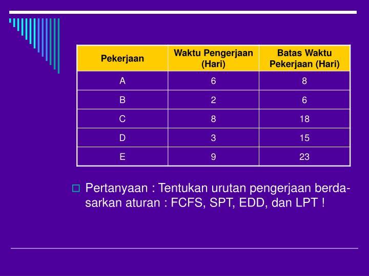 Pertanyaan : Tentukan urutan pengerjaan berda-sarkan aturan : FCFS, SPT, EDD, dan LPT !